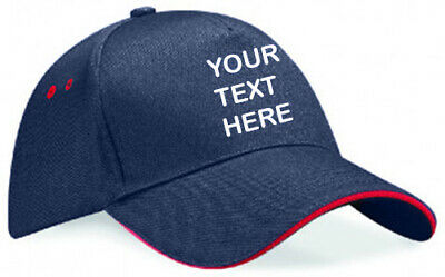 £10.99 • Buy Embroidered/Personalised Navy Blue/Red Ultimate 5 Panel Cap With Sandwich Peak