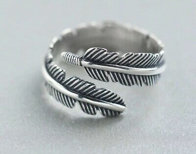 925 Sterling Silver Feather Wrap Around Ring Adjustable Thumb Finger Ring Band • 12£