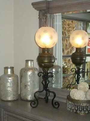 $250 • Buy Antique CONVERTED BRASS OIL TABLE LAMP Gothic Wrought Iron Legs Frost Globe 30