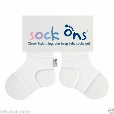 Sock Ons White Keeps Socks From Slipping Off Baby Accessory • 5.99£