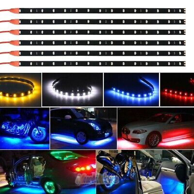 $7.59 • Buy 6pc 12V Waterproof Flexible 12''/15 LED Strip Underbody Light For Car Motorcycle