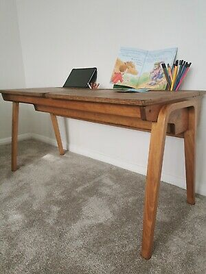 Child's Vintage Double School Desk • 95£