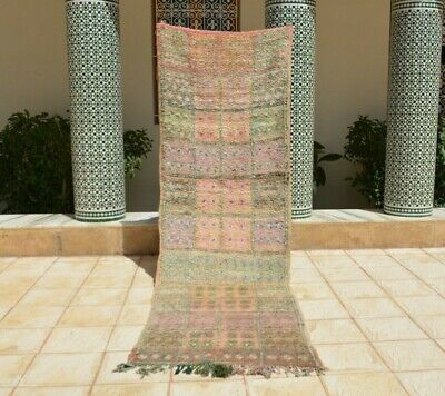 Vintage Moroccan Handmade Runner Rug  Tribal Checkered Tribal Pink Rug • 411.58£