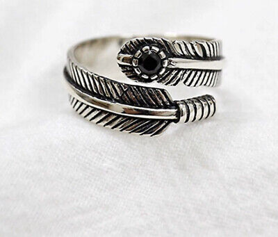 925 Sterling Silver Feather Adjustable Ring, Vintage Open Ring, Boho Thumb Ring • 12£