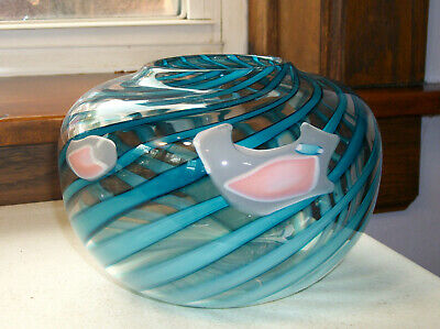 $24.99 • Buy Studio Art Glass Hand Blown Vase With Light And Dark Blue Swirls & Pink Accents