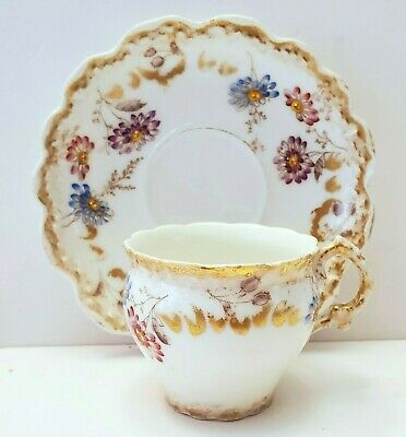 $35 • Buy ANTIQUE LIMOGES LEWIS STRAUS & SON HAND PAINTED DEMITASSE CUP & SAUCER 1890's