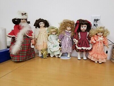 $ CDN60.74 • Buy Lot Of 6 Porcelain Dolls By Brinn's - 3 Have Stands - 2 Are Musical