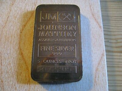 $ CDN250 • Buy Vintage 5 Oz Johnson & Matthey Silver Bar Serial 072205 - Toned