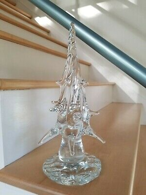 $ CDN46.84 • Buy Vintage Large Clear Solid Hand Blown ART GLASS Christmas Tree 12  Holiday Decor