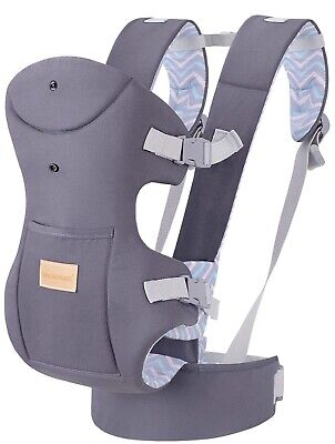 Ergonomic Baby Carrier Wrap With Hip Seat Soft Breathable Cotton Hood Air Mesh • 27.49£