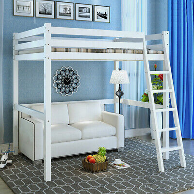 3FT Single High Sleeper Bunk Bed Loft Cabin Bed Solid Pine Wood Frame Desk Kids • 182.95£