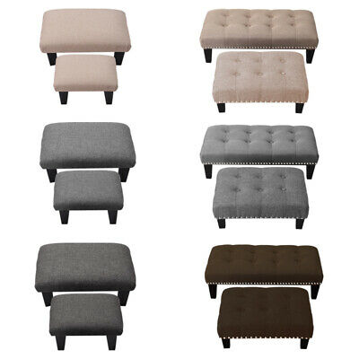 Pouffe Foot Stool Footstool Soft Fabric Tufted Ottoman Bench Seat Chair Wooden • 21.95£