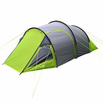 Wild Camping Cambrian 4 Man Person Camping Tunnel Tent - Green & Grey • 64.99£
