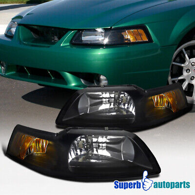 $68.98 • Buy For 1999-2004 New Edge Ford Mustang Headlights Lamps Black Left + Right