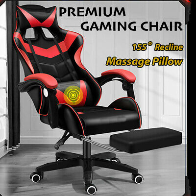 AU154.95 • Buy Gaming Chair Office Seating Racing Computer PU Leather Executive Racer Footrest