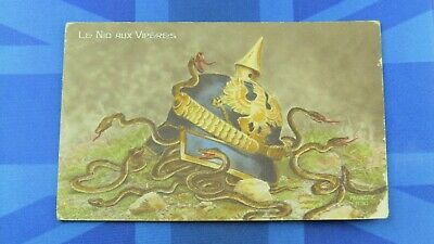 WW1 Military Comic Postcard 1916 Vipers Pickelhaube German Helmet CENSOR 3064 • 6.80£