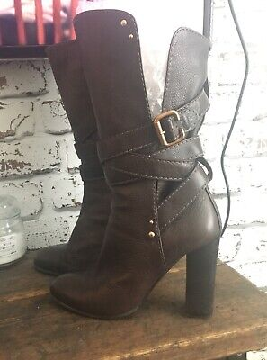 CHLOE Designer Calf High Brown Leather Boots Size 39 / Uk 6 Rp £670 GENUINE • 114.50£