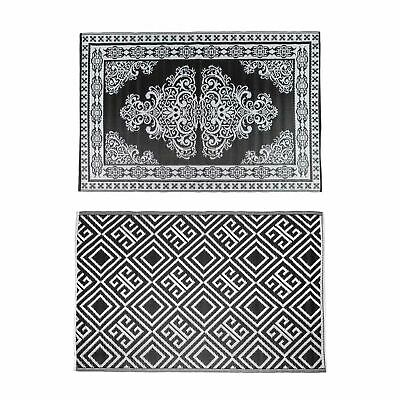 £24.99 • Buy Black & White Geometric And Motif Pattern Reversible Plastic Woven Outdoor Rug