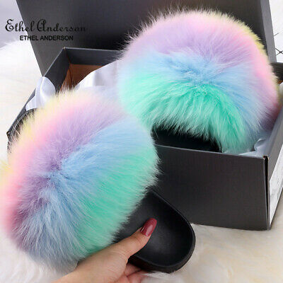 $19.99 • Buy Ethel Anderson Real Fox Fur Slides Hot Sale Summer Sexy New Color Women Slippers