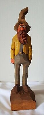 $75 • Buy Vintage Rauch Signed Hand Carved Wooden Country Hillbilly Man Figurine