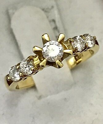 $797 • Buy 18k Solid Yellow Gold Diamond Engagement Ring 5 Stone Band Wedding