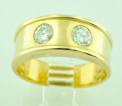 $869 • Buy 18k Solid Yellow Gold Natural Diamond Band Ring 0.50 Ct 2 Stone April Birthstone