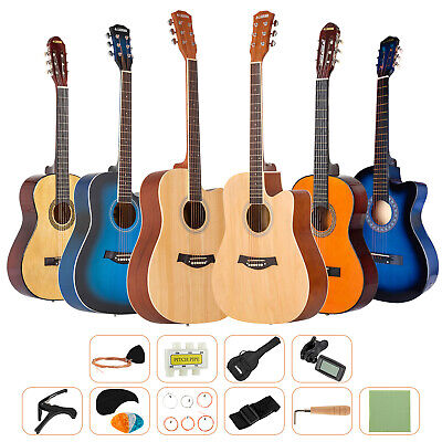 AU105.90 • Buy 38 /41  Classical Acoustic Guitar Beginner Wooden Folk W/Bag Strap String Pick