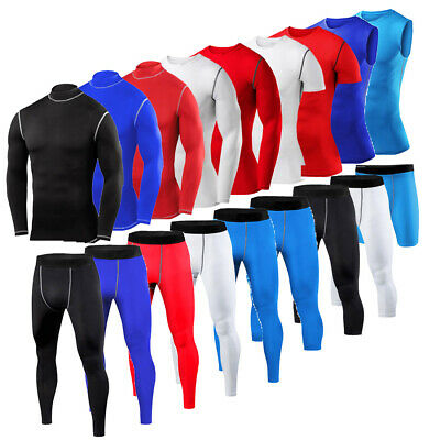 £6.99 • Buy Mens Compression Armour Base Layer Top Cropped Pants Running Shirt Gym Tights