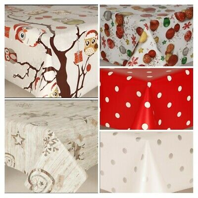 Christmas Festive Snow Wipe Clean Table Cloth Outdoor Indoor Party Plastic Vinyl • 11£