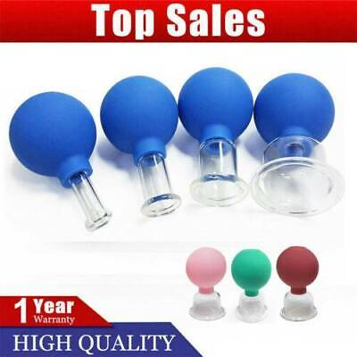 Set 4 Cups Anti-cellulite Facial Cosmetic Cupping Massage Vacuum Glass Cups New • 15.69£
