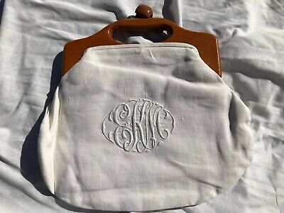 $9.99 • Buy Vintage Bermuda Bag Purse Embroidered Linen Removable Cover Very Nice Condition