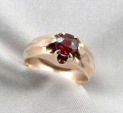 $245 • Buy Antique 14K GOLD Victorian 0.60ct Natural GARNET Solitaire Gypsy RING 5g Sz5.5