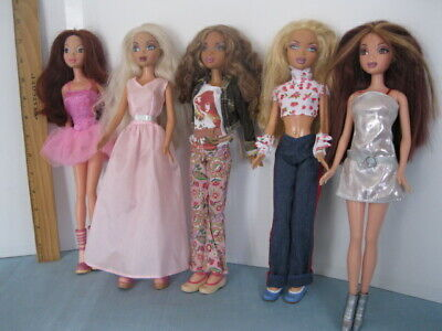 $34.99 • Buy 5 My Scene Dolls, Clothes & Shoes Mixed, Streaked Auburn Hair Nice&Clean Lot #2!