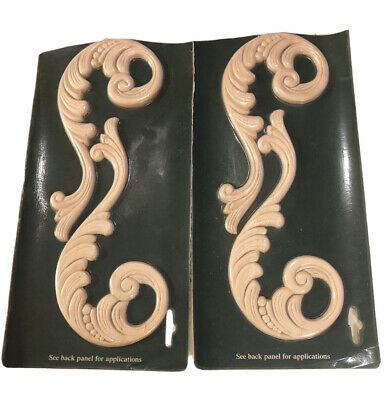 $19.99 • Buy Decorative Wood Carved Applique Embossed Hardwood Accent 0ak White Lot (2)