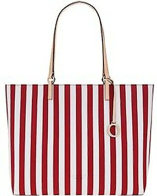 AU229 • Buy New OROTON Estate Stripe Tote Bag PVC Leather Trim Real Red Tags Bag