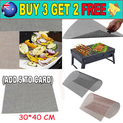AU11.99 • Buy BBQ Grill Mesh Non-Stick Mat Reusable Sheet Resistant Cooking Baking Barbecue C8