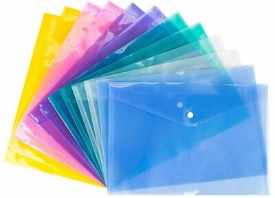 £6.99 • Buy Pack Of 12)A5 Document Wallets File Folder Plastic Small Button Stud(200micron)