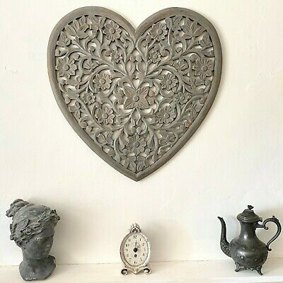 £72.95 • Buy Gorgeous Grey Large Filigree Heart Shaped Hand Carved Wall Panel