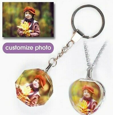 Laser Engraved Photo Keychain Personalized Picture Name Glass Pendant Keytag  • 7.12£