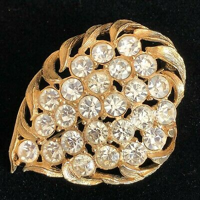$24.95 • Buy Vintage EMMONS Rhinestone Brooch Gold Tone With 25 Stones Signed
