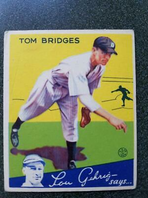 $39.99 • Buy 1934 Goudey Baseball Tom Bridges #44 VG/EX DETROIT TIGERS