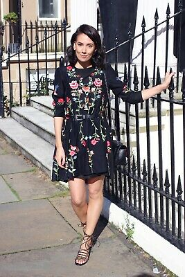 AU14.50 • Buy Zara-style Black Floral Embroidered Relaxed Dress Size M/10-12