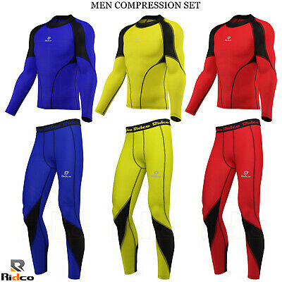 Mens Compression Tights + Top Base Layer Skin Tights Shirt Armour Full Suit New • 8.99£