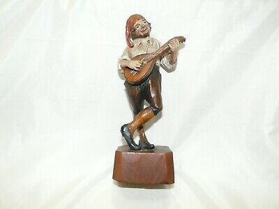 $14.99 • Buy Antique Hand Carved Wooden Figurine Man Playing Mandolin