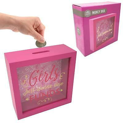 Girls Just Wanna Have Funds Pink Wooden Money Box Piggy Bank Hen Party Gift • 9.99£