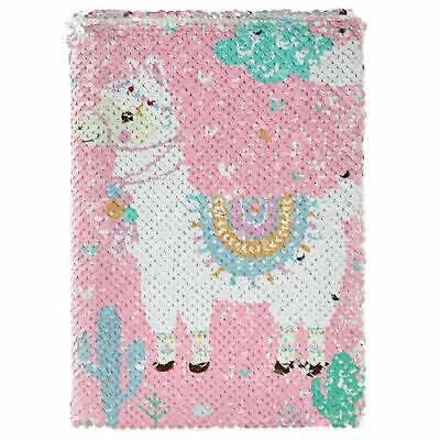 Reversible Sequin Pink Llama Notebook Hardback Lined Notepad Childs Jotter A5 • 3.50£