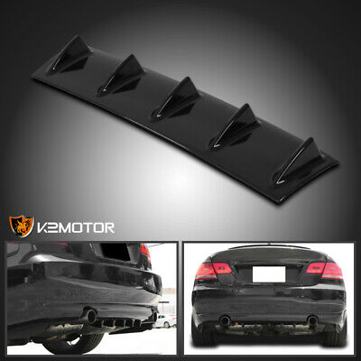 $22.38 • Buy 23  Rear Bumper Diffuser Shark Fin Spoiler Lip Wing Splitter Black ABS Chassis