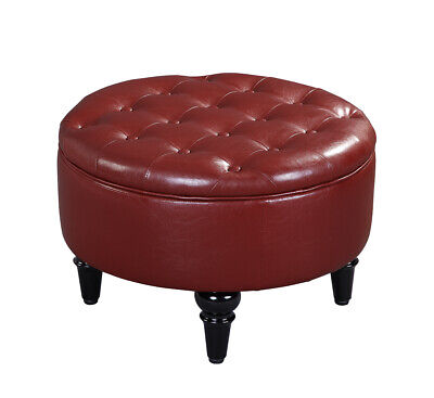$125.99 • Buy Kings Brand Furniture – Red Faux Leather Round Storage Ottoman With Tray Top