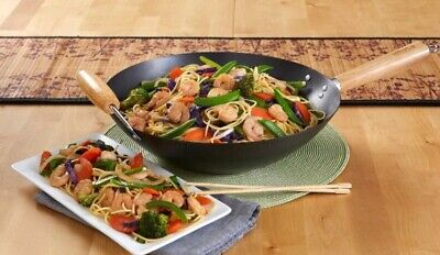 """$56 • Buy NEW FREE SHIPPING IMUSA Wok 14"""" Nonstick Carbon Steele Construction"""