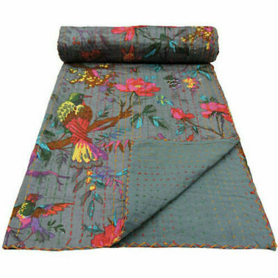 INDIAN GREY BIRD PRINT KANTHA QUILT Queen SIZE BEDDING BLANKET BEDSPREAD THROW • 26.99£